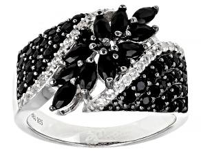 Pre-Owned Black Spinel Rhodium Over Sterling Silver Ring 1.73ctw