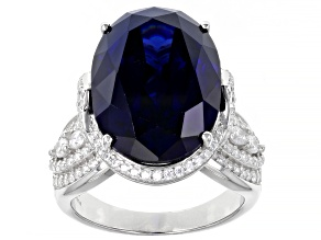 Pre-Owned Blue And White Cubic Zirconia Rhodium Over Sterling Silver Ring 26.00ctw