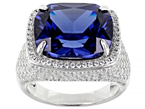 Pre-Owned Blue And White Cubic Zirconia Rhodium Over Sterling Silver Ring 22.32ctw