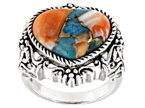 Pre-Owned Blended Kingman Turquoise And Spiny Oyster Shell Rhodium Over Silver Ring