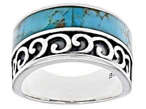Pre-Owned Blue Turquoise Rhodium Over Silver Inlay Ring