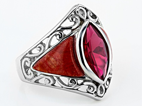 Pre-Owned Red Lab Created Ruby Rhodium Over Sterling Silver Ring 2.89ct
