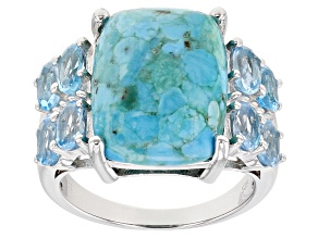 Pre-Owned Blue Turquoise Rhodium Over Silver Ring 1.90ctw