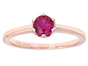Pre-Owned Lab Created Pink Sapphire 18k Rose Gold Over Silver Solitaire Ring .46ct