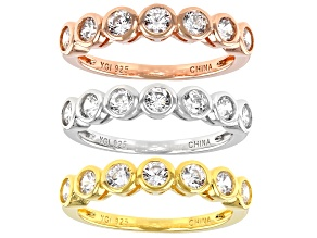 Pre-Owned White Cubic Zirconia Rhodium And 18K Yellow And Rose Gold Over Silver Band Rings 3.78ctw