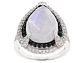 Pre-Owned White Moonstone with White Zircon and Black Spinel Rhodium Over Sterling Silver Ring