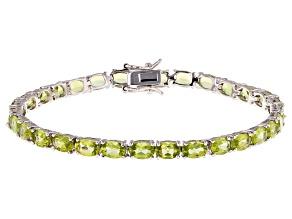Pre-Owned Green Peridot Silver Bracelet 12.14ctw