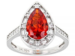 Pre-Owned Orange And White Cubic Zirconia Rhodium Over Sterling Silver Ring 5.06ctw