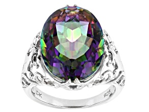 Pre-Owned Multicolor Quartz Rhodium Over Sterling Silver Ring 10.63ct