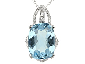 Pre-Owned Sky Blue Topaz Rhodium Over Silver Pendant With Chain 9.77ctw
