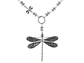 Pre-Owned Dragonfly Rhodium Over Sterling Silver Necklace