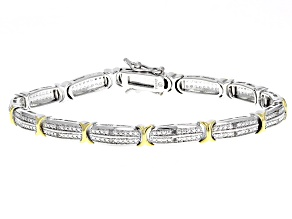 Pre-Owned White Diamond Rhodium And 18k Yellow Gold Over Brass .10ctw