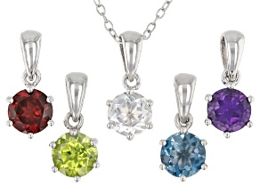 Pre-Owned Mixed-Color Gemstones Rhodium Over Silver 5 Pendants With Chain Set 3.87ctw