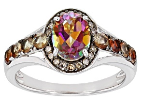 Pre-Owned Multi-color Quartz Rhodium Over Sterling Silver Ring 1.50ctw