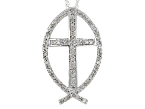 Pre-Owned Rhodium Over Sterling Silver Diamond Pendant .25ctw