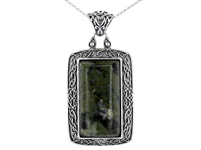 Pre-Owned Green Connemara Marble Sterling Silver Pendant With Chain