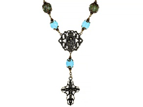 Pre-Owned Green Connemara Marble Brass Rosary Necklace