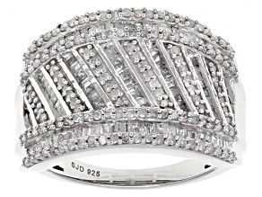 Pre-Owned White Diamond Rhodium Over Sterling Silver Ring 1.15ctw