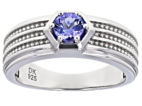 Pre-Owned Blue Tanzanite Rhodium Over Silver Ring .47ctw