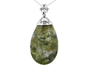 Pre-Owned Connemara Marble Silver Pendant W/Chain