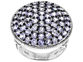 Pre-Owned Blue tanzanite rhodium over sterling silver cluster ring 3.65ctw