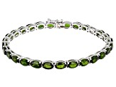 Pre-Owned Green Chrome Diopside Rhodium Over Sterling Silver Line Bracelet 14.50ctw
