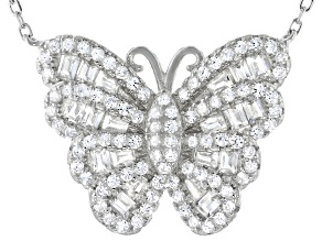 Pre-Owned White Cubic Zirconia Rhodium Over Sterling Silver Butterfly Necklace 1.56ctw