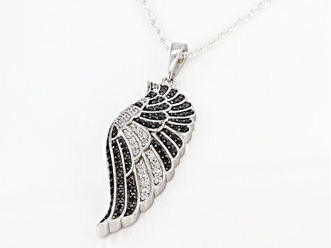 Pre-Owned Black Spinel and White Cubic Zirconia Rhodium Over Sterling Silver Pendant With Chain 1.55