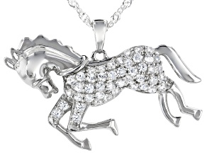 Pre-Owned White Cubic Zirconia Rhodium Over Sterling Silver Horse Pendant With Chain 1.28ctw