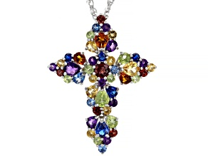 Pre-Owned Mixed-Color Gemstones Rhodium Over Silver Cross Pendant With Chain 5.39ctw