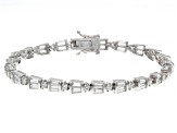 Pre-Owned White Cubic Zirconia Rhodium Over Sterling Silver Tennis Bracelet 6.28ctw