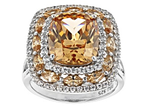 Pre-Owned Champagne And White Cubic Zirconia Rhodium Over Sterling Silver Ring 12.51ctw