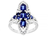 Pre-Owned Blue Kyanite Rhodium Over Silver Ring 1.75ctw