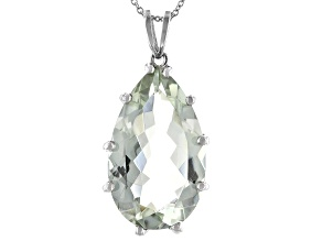 Pre-Owned Green Prasiolite Rhodium Over Sterling Silver Pendant With Chain 18.50ct