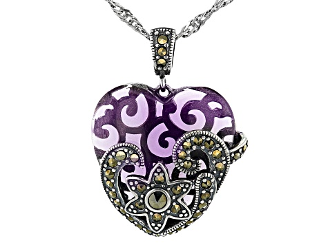 Pre-Owned Purple Glass Sterling Silver Heart Pendant With Chain