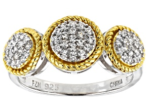 Pre-Owned White Cubic Zirconia Rhodium And 14k Yellow Gold Over Sterling Silver Ring 0.55ctw