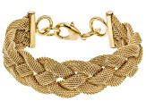 Pre-Owned Moda Al Massimo® 18k Yellow Gold Over Bronze 20.93MM Woven Chain Bracelet