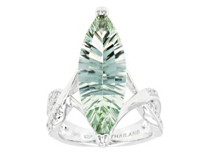 Pre-Owned Green Brazilian Prasiolite Rhodium Over Sterling Silver Solitaire Ring 8.25ctw.