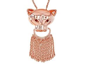 Pre-Owned Copper Red Garnet Jaguar Tassel Necklace .21ctw