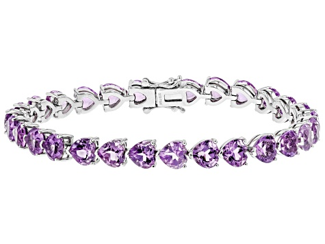 Pre-Owned Purple Amethyst Rhodium Over Silver Bracelet 18.20ctw