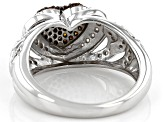 Pre-Owned Red And White Diamond Rhodium Over Sterling Silver Heart Cluster Ring 0.50ctw