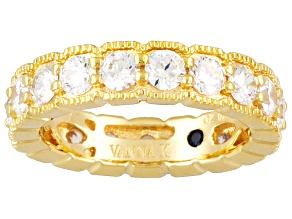 Pre-Owned Womens Eternity Band Ring Cubic Zirconia 3.67ctw 18k Gold Over Silver