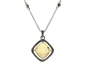 Pre-Owned Champagne Quartz Sterling Silver Pendant With Chain 3.44ct