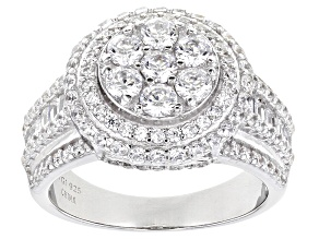 Pre-Owned White Cubic Zirconia Rhodium Over Sterling Silver Ring 3.65ctw