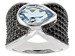 Pre-Owned Sky Blue Topaz Rhodium Over Sterling Silver Ring 4.50ctw
