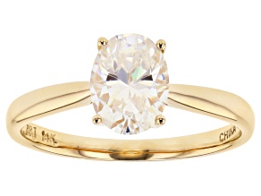 Pre-Owned White Fabulite Strontium Titanate 14k Gold Solitaire Ring 1.56ct