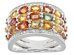 Pre-Owned Multi Sapphire And Diamond Sterling Silver Ring 4.93ctw