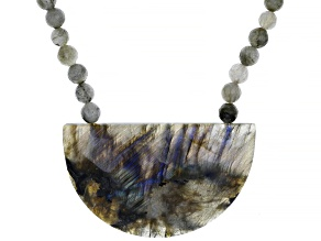 Pre-Owned Gray Labradorite Rhodium Over Sterling Silver Necklace