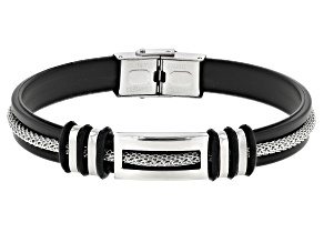 Pre-Owned Stainless Steel, Rubber & Silver Tone Chain With Mesh Detail Mens Bracelet