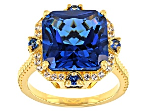 Pre-Owned Lab Created Blue Spinel 18k Yellow Gold Over Silver Ring 7.19ctw